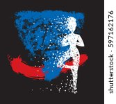 sport fitness poster. abstract... | Shutterstock .eps vector #597162176