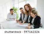 business meeting and... | Shutterstock . vector #597162326