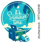 summer holiday and summer camp... | Shutterstock .eps vector #597163448