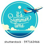 summer holiday and summer camp... | Shutterstock .eps vector #597163466