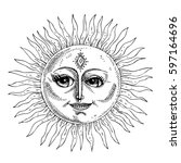 hand drawn sun with face... | Shutterstock .eps vector #597164696