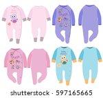 baby romper in various styles... | Shutterstock .eps vector #597165665