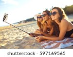 summer holidays and vacation  ... | Shutterstock . vector #597169565