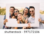 group of beautiful  happy... | Shutterstock . vector #597172106
