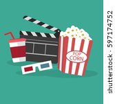 video and movie icons with pop...   Shutterstock .eps vector #597174752