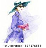 woman in coat. fashion... | Shutterstock . vector #597176555