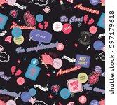 funny beauty girls item badge... | Shutterstock .eps vector #597179618
