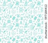 medical blue seamless pattern ... | Shutterstock .eps vector #597184412