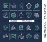 sauna  steam bath line icons.... | Shutterstock .eps vector #597184562
