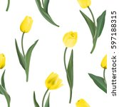 Seamless From Yellow Tulips. ...
