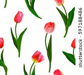 Seamless From Red Tulips And...