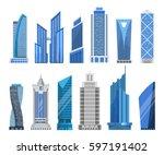modern skyscrapers in a flat... | Shutterstock .eps vector #597191402