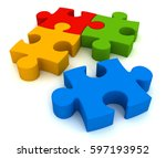puzzle 3d illustration isolated ... | Shutterstock . vector #597193952