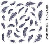 feather pattern | Shutterstock .eps vector #597195386