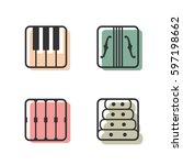 block instrumen icons   piano ...   Shutterstock .eps vector #597198662