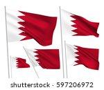 bahrain vector flags set. 5... | Shutterstock .eps vector #597206972