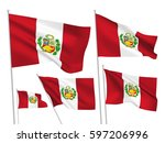 peru vector flags set. 5 wavy... | Shutterstock .eps vector #597206996