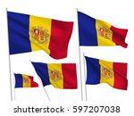 andorra vector flags set. 5... | Shutterstock .eps vector #597207038