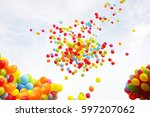 balloon with colorful on sky... | Shutterstock . vector #597207062