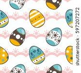 seamless pattern vector  vector ... | Shutterstock .eps vector #597207272