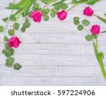 Flower Frame With Pink Tulips...