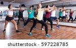active men and ladies dancing ... | Shutterstock . vector #597228785
