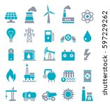 vector set of power energy... | Shutterstock .eps vector #597229262