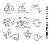 scuba diving vector sketch set | Shutterstock .eps vector #59723527