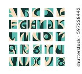 vector font design  english... | Shutterstock .eps vector #597238442
