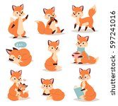 fox cute adorable character... | Shutterstock .eps vector #597241016