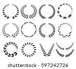 set laurel wreath.  | Shutterstock .eps vector #597242726