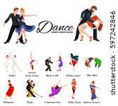 dancing people  dancer bachata  ... | Shutterstock . vector #597242846