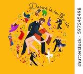 couple dancing kizomba in... | Shutterstock . vector #597245498