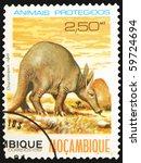 Small photo of MOSAMBIK - CIRCA 1981: A stamp printed in Mosambik showing Aardvark, circa 1981
