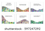 set of flat abstract bright... | Shutterstock .eps vector #597247292
