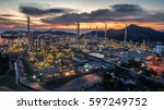 aerial view oil refinery with a ... | Shutterstock . vector #597249752