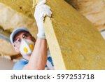 caucasian construction worker... | Shutterstock . vector #597253718