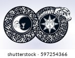 ouroboros devouring its own... | Shutterstock .eps vector #597254366