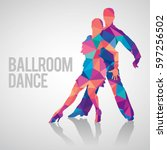 silhouettes of couple dancing... | Shutterstock .eps vector #597256502