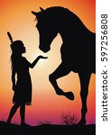 Magical Friendship with Animal. Little Native American Girl and the Wild Horse Illustration. - stock photo