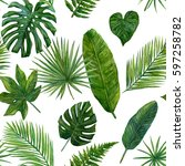 tropical leaves watercolor... | Shutterstock . vector #597258782
