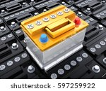 many car black battery and one... | Shutterstock . vector #597259922