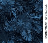 dark tropical background with... | Shutterstock .eps vector #597263066