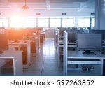 rows of computer neatly placed... | Shutterstock . vector #597263852