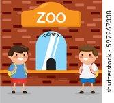 kids buying ticket at zoo | Shutterstock .eps vector #597267338