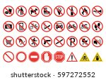 prohibition signs set safety... | Shutterstock .eps vector #597272552