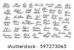 hand lettering the name of the...   Shutterstock .eps vector #597273065