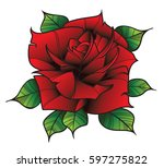 flower rose. isolated on white... | Shutterstock .eps vector #597275822