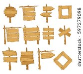 big set of different wooden... | Shutterstock .eps vector #597279098