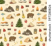 camping objects pattern. | Shutterstock .eps vector #597280826